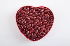 Red kidney beans in heart shape box