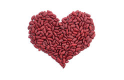 Red kidney beans in a heart shape Stock Images