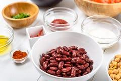 Red Kidney Beans, Ketchup, Yogurt, Chickpeas, Parsley And Olive Oil Food Ingredients Stock Image