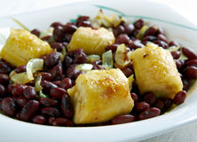 Red Kidney Beans with Plantains Stock Photos