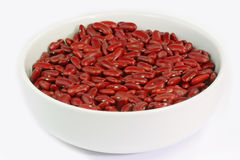 Red Kidney Beans in a white bowl. On bright Background royalty free stock photo