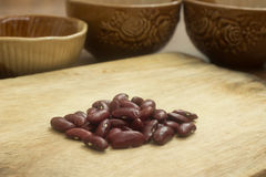 Red Kidney Beans on the Wooden Cutting Board Royalty Free Stock Photos