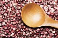 Red kidney beans and wooden tablespoon Stock Photo