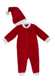 Red kids winter Christmas jumpsuit made from sheepskin Royalty Free Stock Photo