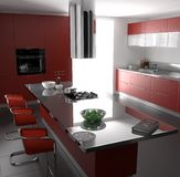 Red kitchen. Modeled with blender and rendered with yafaray Royalty Free Stock Photos
