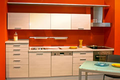 Red kitchen Stock Photography