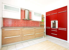 Red kitchen angle 2 Stock Photography
