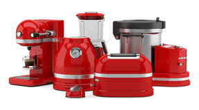 Red kitchen appliances isolated on white Royalty Free Stock Photography