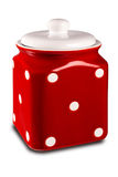Red kitchen container. Red kitchen canister isolated on a white background Royalty Free Stock Images