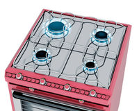 Red kitchen with gas stove Royalty Free Stock Photos
