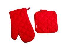Red kitchen glove. Isolated on white Stock Images
