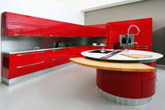 Red Kitchen Interior Royalty Free Stock Photography