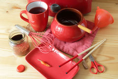 Red kitchen items Royalty Free Stock Photos