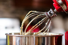 Red Kitchen Mixer. Image of a red kitchen mixer appliance Stock Photo