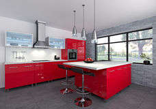 Red kitchen. Modeling and rendering of a red kitchen Stock Images