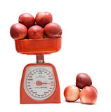 Red Kitchen Scale Weighting Nectarines Royalty Free Stock Photos