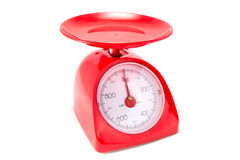 Red Kitchen Scale Stock Image