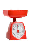Red kitchen scales royalty free stock image