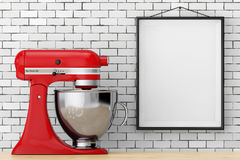 Red Kitchen Stand Food Mixer in front of Brick Wall with Blank F Stock Photography