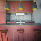 Red kitchen with three chairs Stock Photo