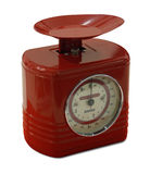 Red kitchen weighing scales stock photography