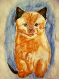 Red kitten with black ears watercolor pencil Stock Images