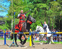 Red knight getting the ring Royalty Free Stock Image