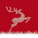 Red Knit Background Reindeer Snow Stock Image