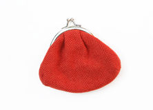 Red Knit Change Coin Purse with clasp Stock Image