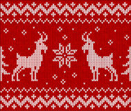 Red knit with goat, seamless pattern tile Royalty Free Stock Photo
