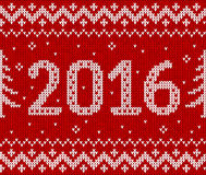 Red knit for 2016 new year, vector seamless Royalty Free Stock Photos
