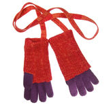 Red knit wool gloves Stock Image