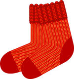 Red knit wool socks. Vector over white. EPS 8 Royalty Free Stock Photo