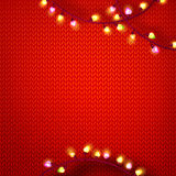 Red kniting with lights Royalty Free Stock Photography