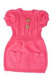 Red knitted baby dress Stock Images