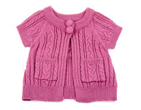 Red knitted baby dress Stock Image