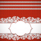 Red knitted background Stock Photo