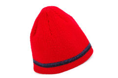 Red knitted cap. Isolated on white Stock Images