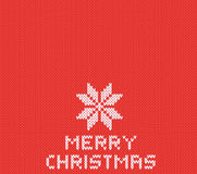 Red knitted Christmas background with white snowflake. Vector EPS 10. Red knitted Christmas background with white snowflake. Vector illustration EPS 10 Royalty Free Stock Photography