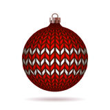 Red Knitted Christmas Ball Royalty Free Stock Image