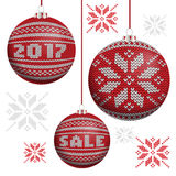Red knitted Christmas balls Stock Photo