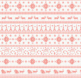 Red knitted christmas pattern Stock Photos