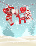 Red knitted christmas stocking with some scandinavian traditional decorations hanging in front of simple winter. Red knitted christmas stocking with nordic vector illustration
