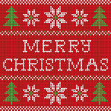 Red knitted Christmas sweater with deer and signs seamless pattern Stock Photography