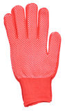 Red knitted cloth kid gloves with pattern isolated on white back Stock Photos