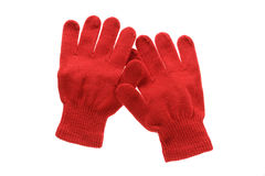 Red knitted cloth kid gloves with pattern  isolated on white . Stock Image