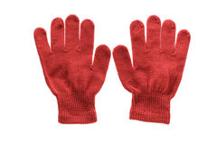 Red knitted cloth kid gloves with pattern  isolated on white. Royalty Free Stock Photography