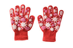 Red knitted cloth kid gloves with pattern  isolated on white. Stock Photography