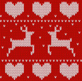 Red Knitted deers sweater in Norwegian style.  Stock Images