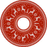 Red knitted deers vector circle pattern Stock Photography